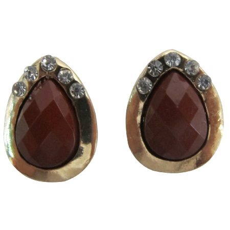 Teardrop Pear Shape Stud Earrings Brown Enamel with Rhinestones