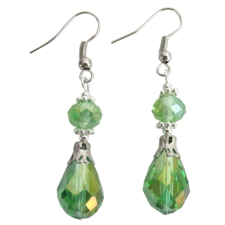 Peridot Teardrop Earrings with Bali Silver Beautiful Gorgeous Earrings