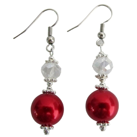 Red White Pearl AB Crystal Earrings Bali Silver Christmas Holiday Gift