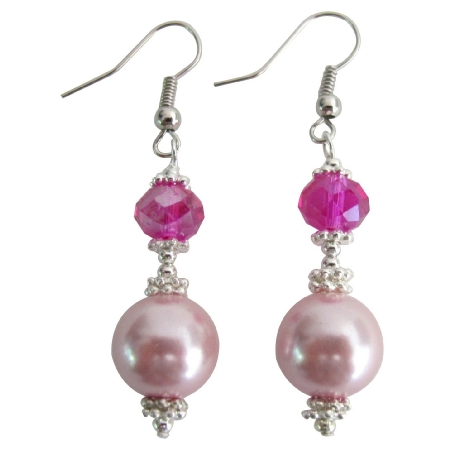 Pink Pearl Fuchsia Crystal Earrings Bali Silver Daily Wear Earrings