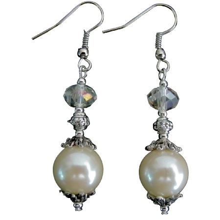 Mother Of Pearl Earrings with Clear Crystal Glass Beads & Bali Silver