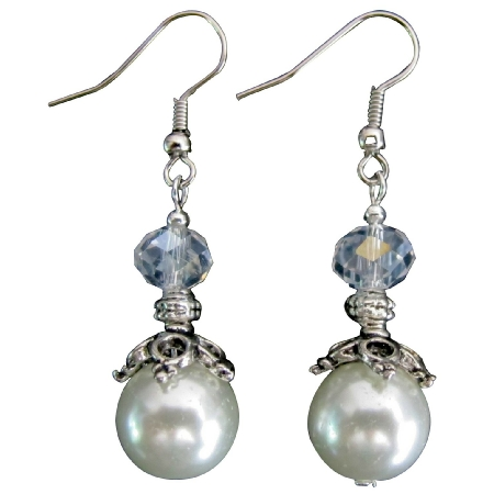 White Pearl Clear Crystal Bridal Earrings Wedding Jewelry