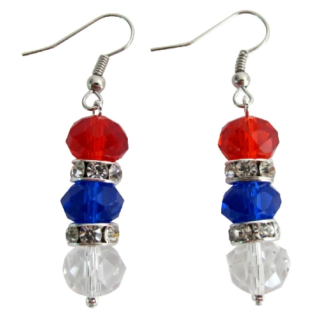 USA Independence Patriotic 4th of July Red White Blue Beads Earrings