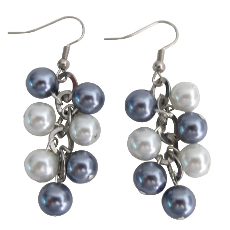 White Gray Pearl Jewelry Cluster Earrings Wedding Earrings