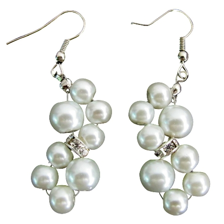 Flower Pearl Earrings Rhinestone Earrings White Pearl Earrings