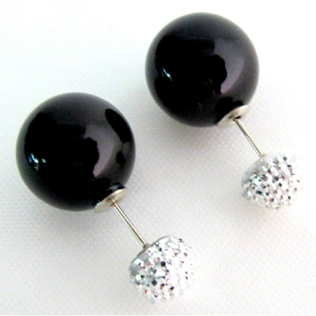 Double Sided Stud Earrings Black Pearl Pave Ball Back Front Stud