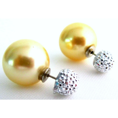 Timeless Yellow Pearl Double Sided Stud Earrings Pave Ball Earrings