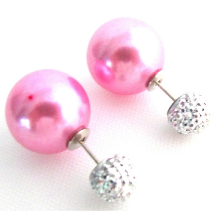 Fuchsia Pearl Front Back Double Sided Stud Earrings Complimentary Gift