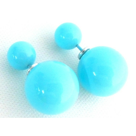 Double Sided Bubble Bead Blue Pearl Stud Earrings