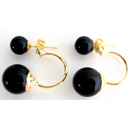 Ear Jacket Earrlngs Gold Post Earrings Black Pearl Gold Post Earrings