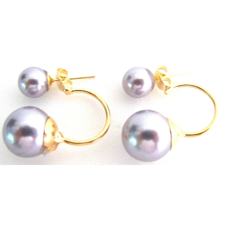 Gray Pearl Ear Jacket Earrings Double Sided Bridesmaid Earrings