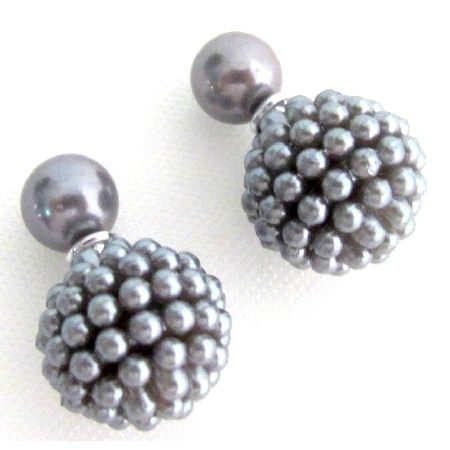 Gray Pearl Double Sided Earrings Bridal Bridesmaid Wedding Fashion
