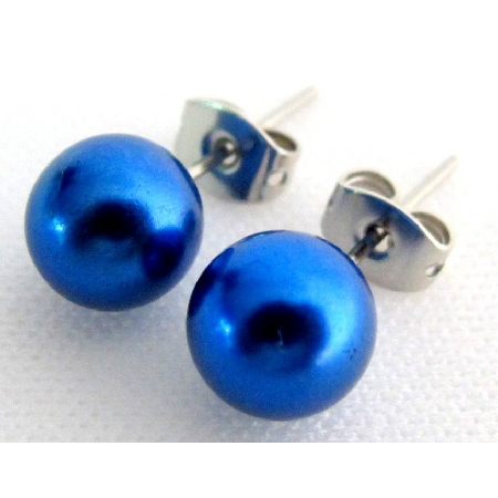 Flower Girl Dark Blue Pearl Jewelry Stud Earrings