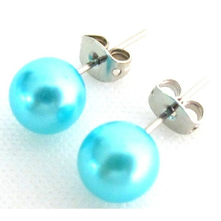 Exclusive Beautiful Blue Pearl Stud Earrings