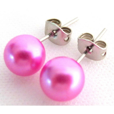 Pink Rose Pearl Jewelry Wedding Rose Pink Pearl Stud Earrings