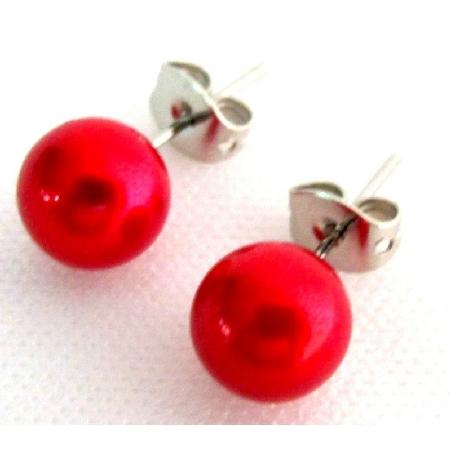 Pearl Stud Earrings Super Cool Red Pearl Stud Earrings