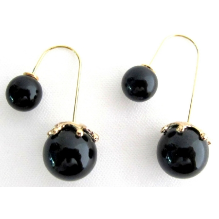 Black Pearl Double Sided Dangling Earrings