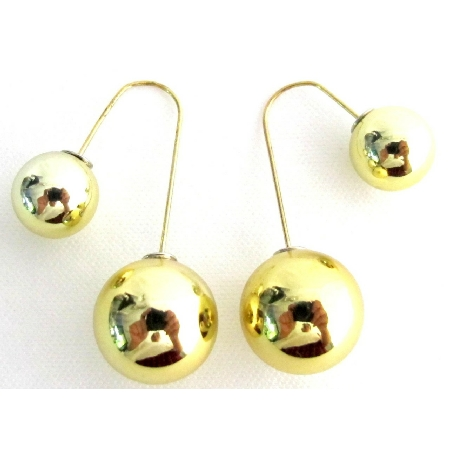 Gold Double Sided Ball Earrings Dangling Cute Dangling Unique Style