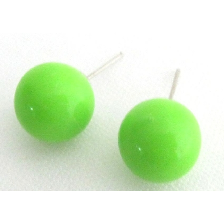 Candy Stud Earrings Round Bead Peridot Green Bead Stud Earrings
