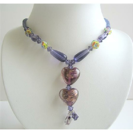 Purple Beaded Simulated Crystals Millefiori & Cat Eye Beads Necklace