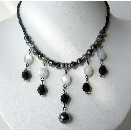 Choker w/ White & Black Beads & Acrylic Bead & Oxidized Metal Necklace
