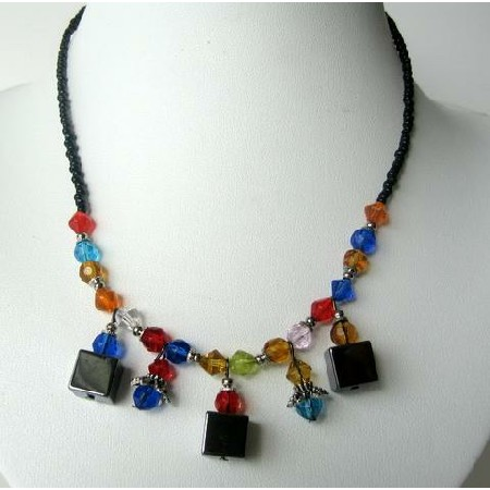 Multi Crystals Necklace Simulated Crystals Colorful w/ Dangling Choker