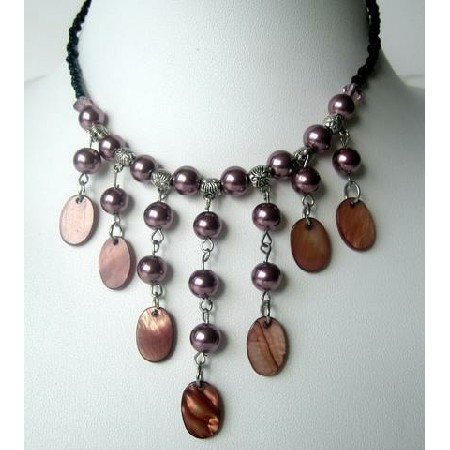 Peral & Shell Necklace Cultured Pearls w/ Dangling Shell Choker