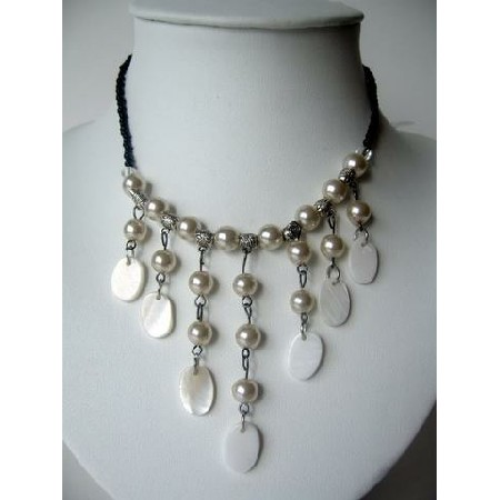 White Peral & Shell Necklace Cultured Pearls w/ Dangling Shell Choker