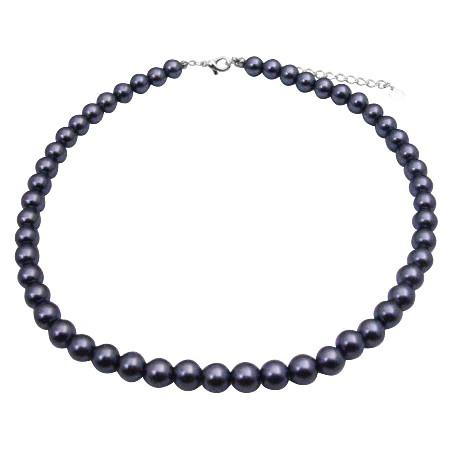 Dark Grey Cultured Pearls Choker Simulated Pearls Beautiful Necklace