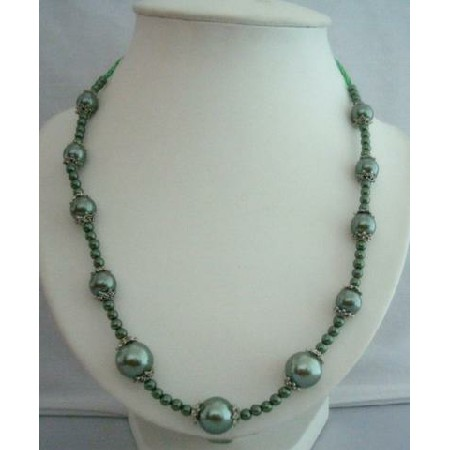 Green Simulated Pearls Long Necklace 20 w/ Bali Metal