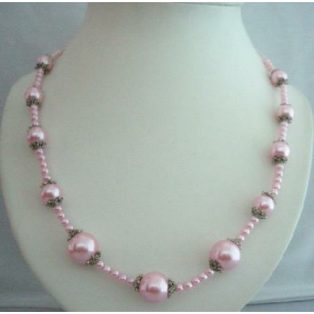 20 Inches Pink Long Stunning Cultured Pearls Necklace w/ Bali Metal