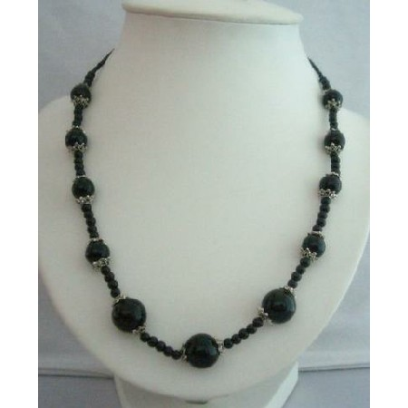 Black Cultured Black Pearl 20 Inches Long Necklace w/ Bali Metal