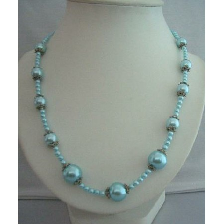 Soothing Blue Cool Color 20 Inches Simulated Pearl Long Necklace
