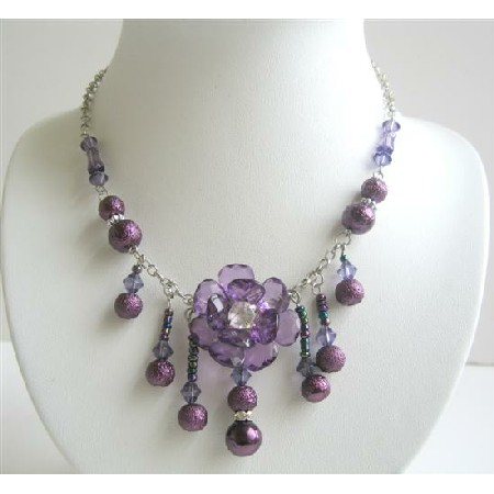 Beautiful Latest Purple Beads Flower w/ Dangling Necklace