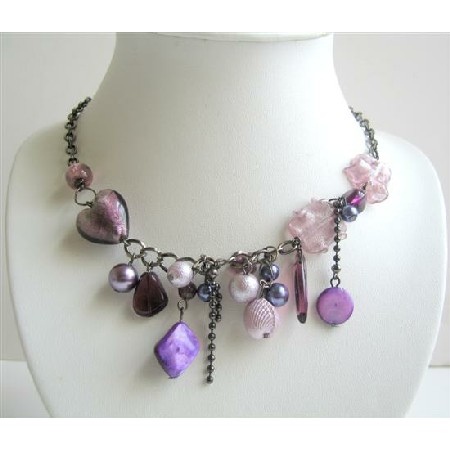 Multi Beads Purple Dangling Beades Necklace