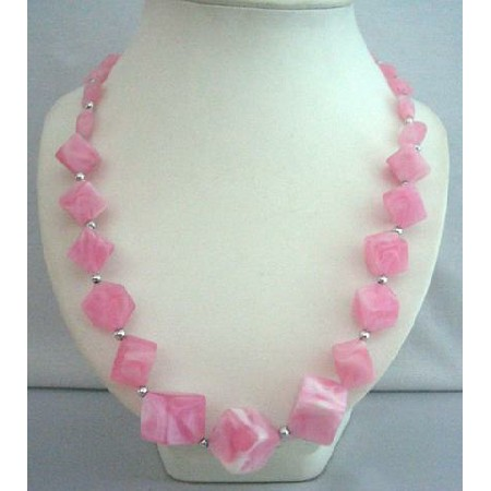 Cool Pink Beads Beach Necklace 28 inches Long Summerish Jewelry