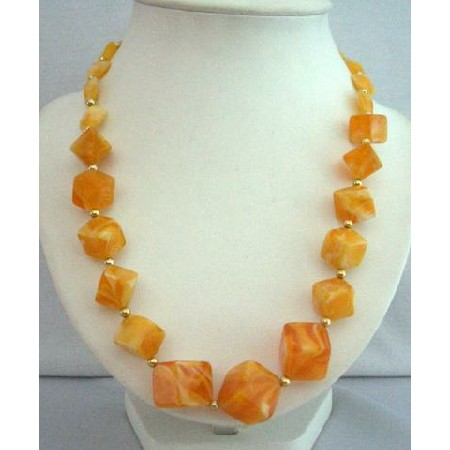 Yellow Lime Beads Summerish Beach Fun Wearing Long Necklace Jewelry