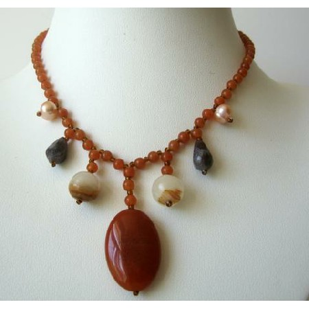 Nice Brown Lucite Bead Necklace w/ Simulated Stone Dangling