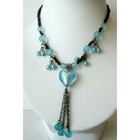 Necklace Turquoise Blue Heart Beads w/ Tassel Choker Black Beaded