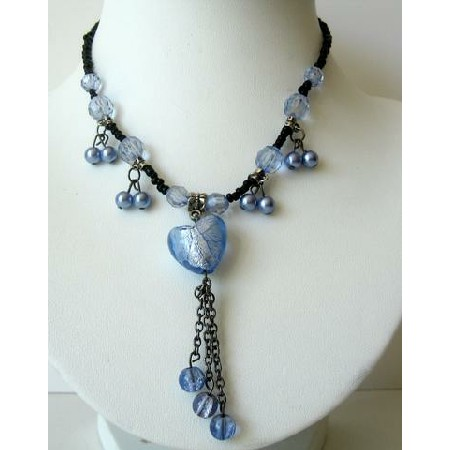 Blue Heart Tassel Necklace w/ Beautiful Dangling