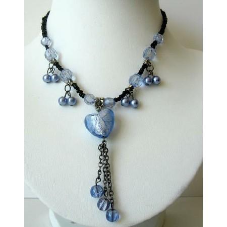 Blue Heart Tassel Necklace w/ Beautiful Dangling