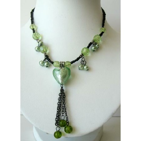 Striking Green Choker w/ Heart Tassel Necklace