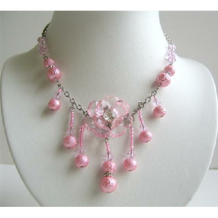 Pink Acrylic Beads Simulated Crystals Flower Pendant Dangling Necklace