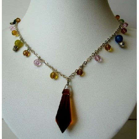 Multi Colored Simulated Crystals w/ Teardrop Necklace 20 inches