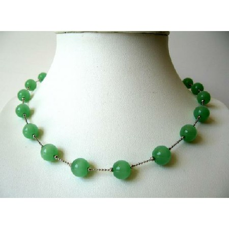 Green Glass Faceted Beads Dainty Rhodium Silver Plated Chain Necklace
