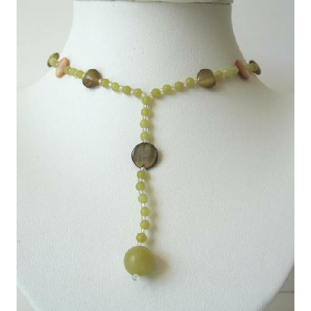 Citrine Beaded Y Neck Necklace w/ Shell & Assorted Beads