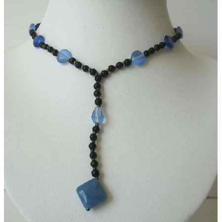 Beautiful Y Neck Black Beaded w/ Blue & Purple Shades Beads Necklace