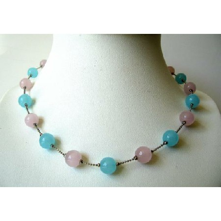 Pink & Blue Glass Faceted Beads Choker Necklace