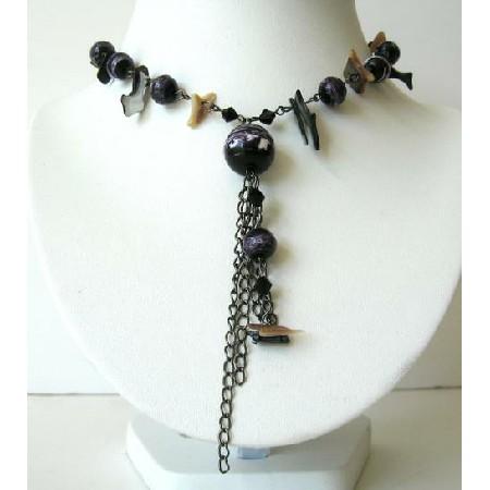 Ethnic Tassel Choker Purple & Multi Beads Necklace w/ Tassel Necklace