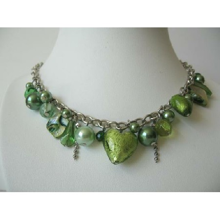 Multi Color Green Beads with Shell & Simulated Crystal Necklace